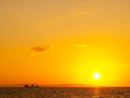 Orange Sunset on the Ferry